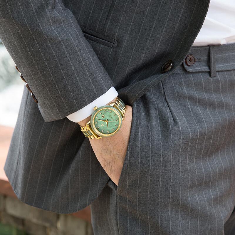 CHIYODA Mens Automatic Mechanical Watch Jade Watch Luxury Sapphire Mirror Green Jade