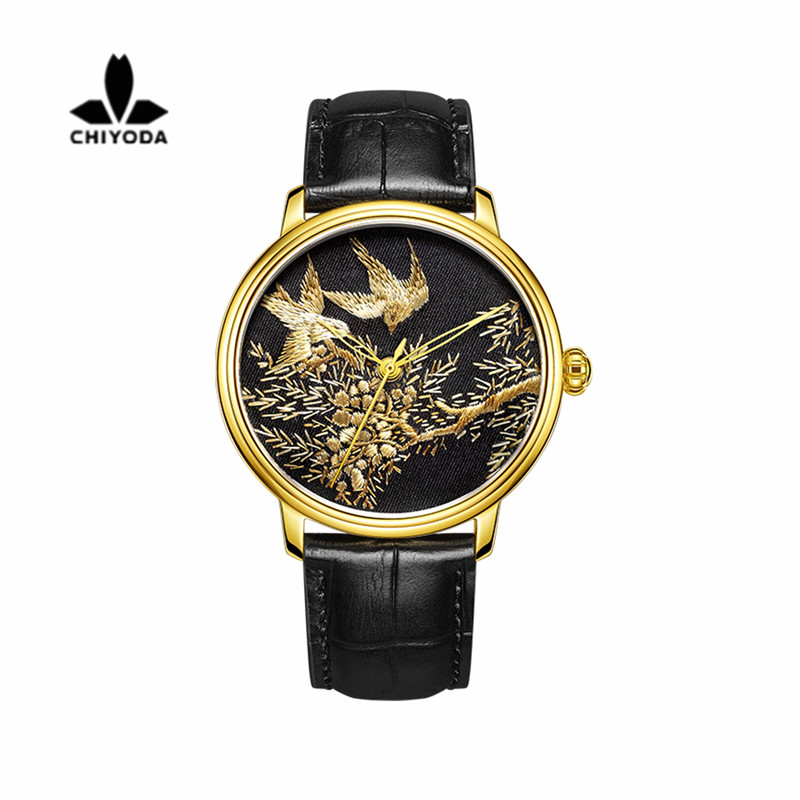 Mens Stylish Embroidery Watch with Golden Case Personalized Floral Embroidered Watch