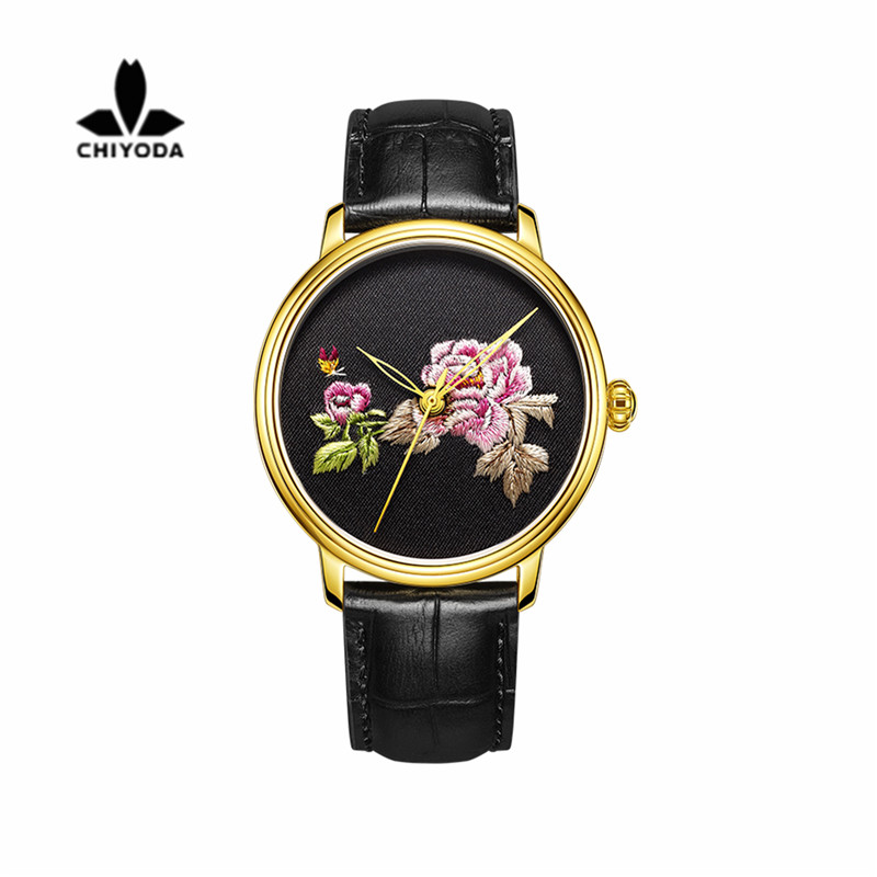 Womens Stylish Embroidery Watch with Golden Case Personalized Floral Embroidered Watch