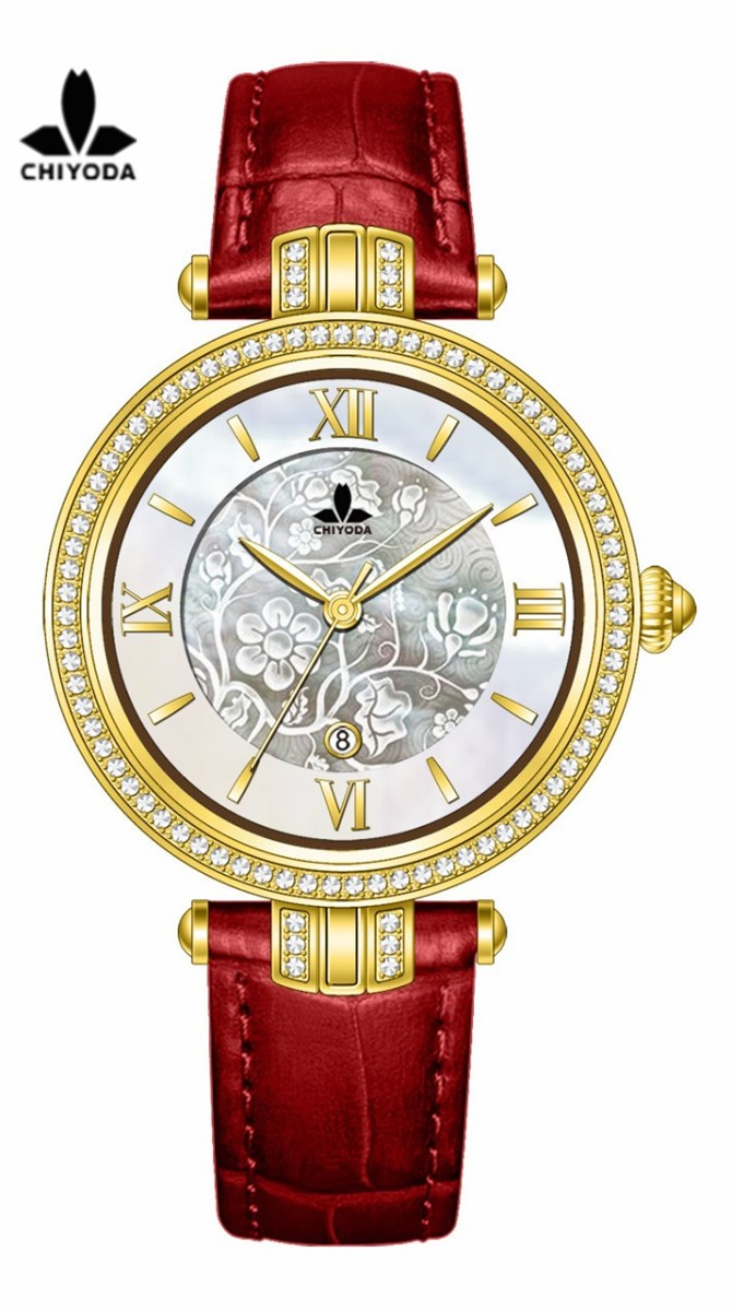 CHIYODA Unisex Luxury Gold Automatic Watch with MotherofPearl Shell Dial Swiss Movement Leather Strap Shell 17