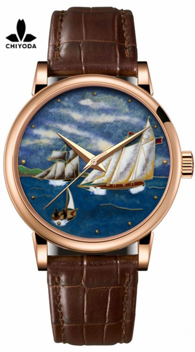 CHIYODA Mens Luxury Gold Watch Enamel Painting Automatic Watch with Swiss Movement Leather Strap Enamel 02