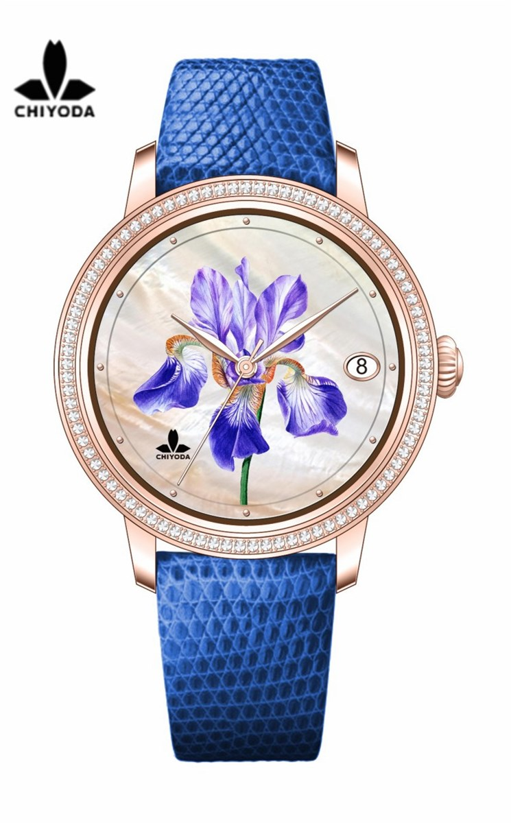 CHIYODA Unisex Luxury Gold Automatic Watch with MotherofPearl Shell Dial Swiss Movement Leather Strap Shell 04