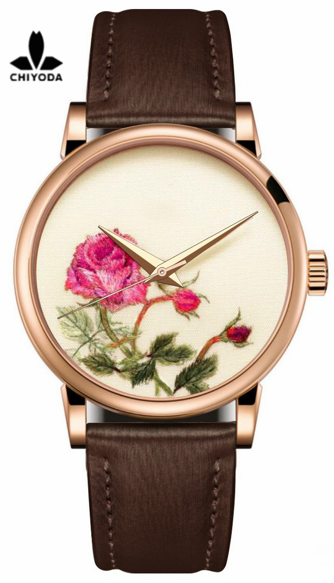 CHIYODA Mens Stylish Embroidery Watch with Gold Case Embroidery 02