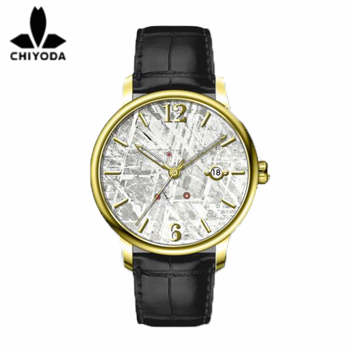 CHIYODA Mens Luxury Gold Automatic Watch with Classical Meteorite Dial Swiss Movement Leather Strap Meteorite 02