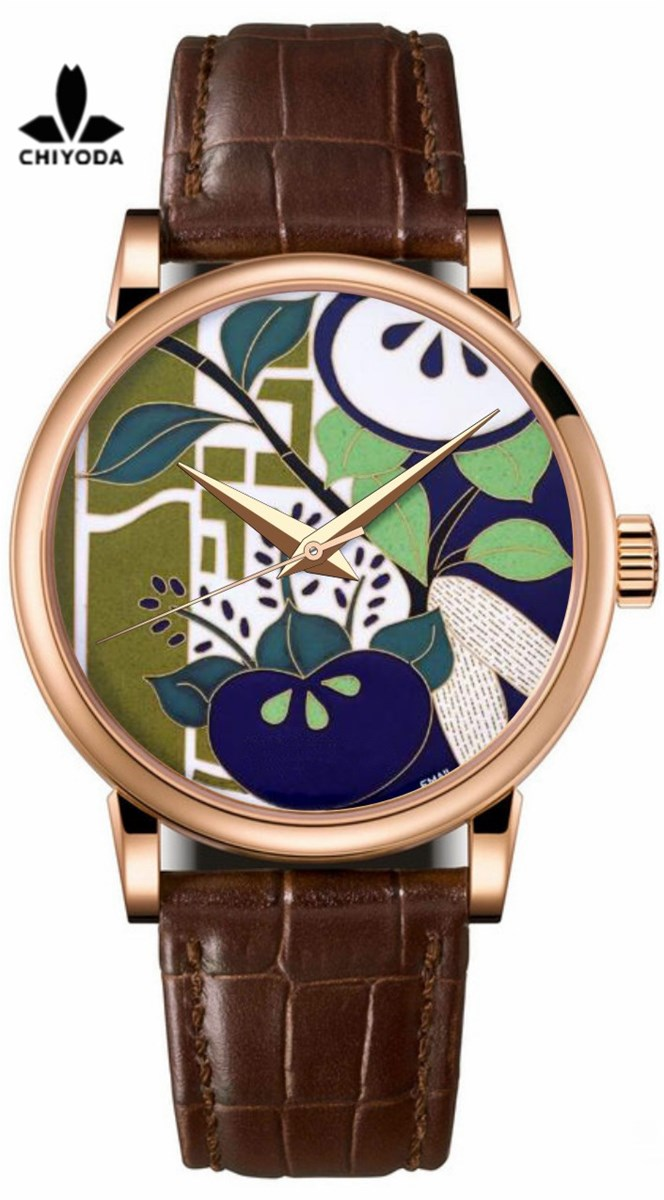 CHIYODA Mens Luxury Gold Watch Enamel Painting Automatic Watch with Swiss Movement Leather Strap Enamel 07