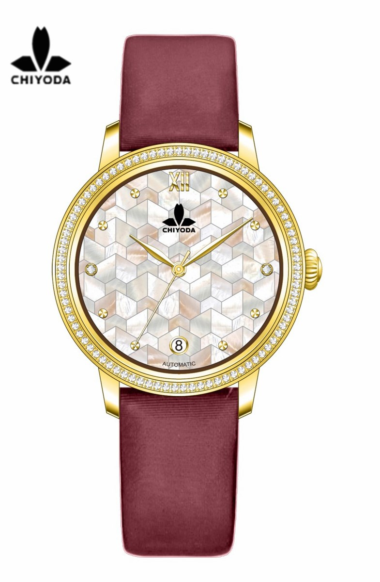 CHIYODA Unisex Luxury Gold Automatic Watch with MotherofPearl Shell Dial Swiss Movement Leather Strap Shell 15