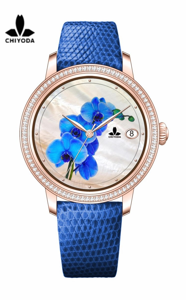 CHIYODA Unisex Luxury Gold Automatic Watch with MotherofPearl Shell Dial Swiss Movement Leather Strap Shell 01