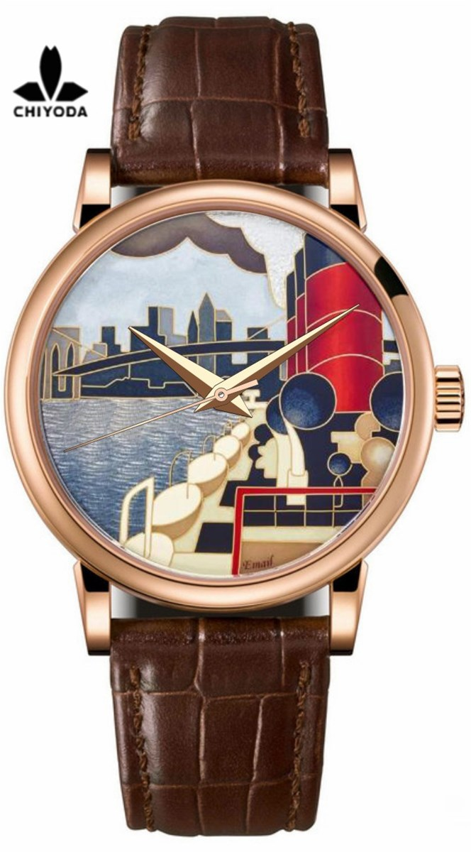 CHIYODA Mens Luxury Gold Watch Enamel Painting Automatic Watch with Swiss Movement Leather Strap Enamel 08