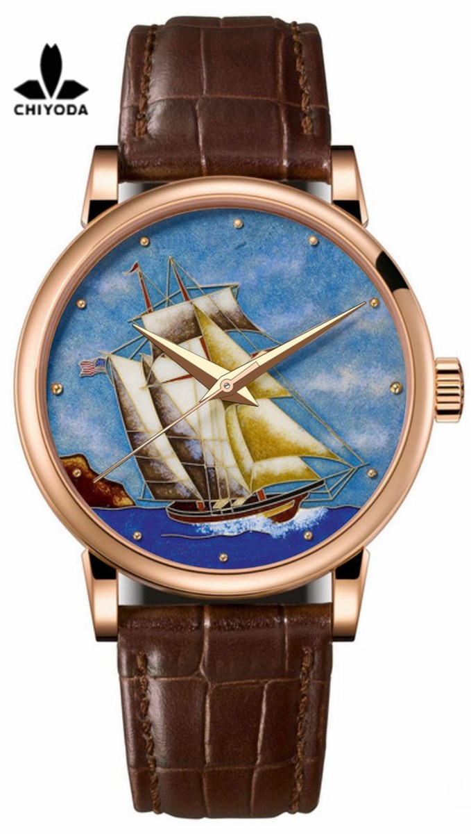CHIYODA Mens Luxury Gold Watch Enamel Painting Automatic Watch with Swiss Movement Leather Strap Enamel 01