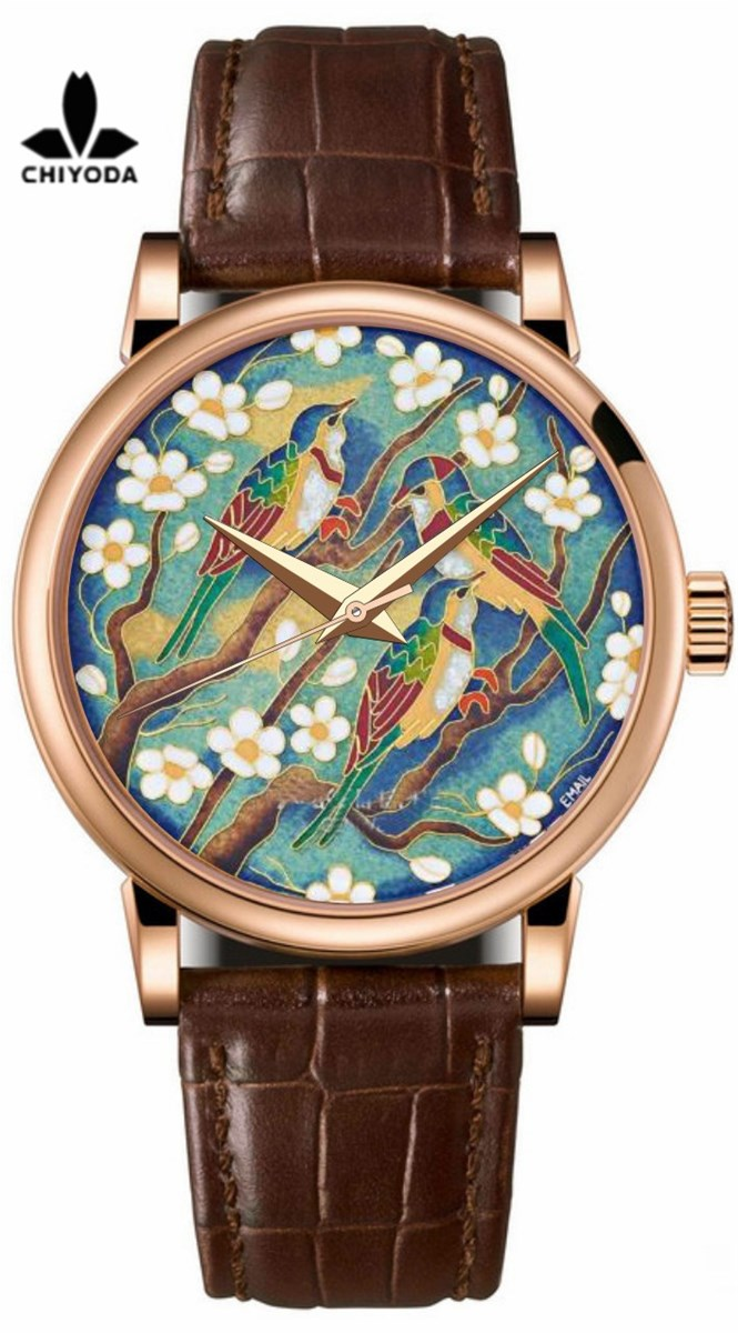 CHIYODA Mens Luxury Gold Watch Enamel Painting Automatic Watch with Swiss Movement Leather Strap Enamel 05