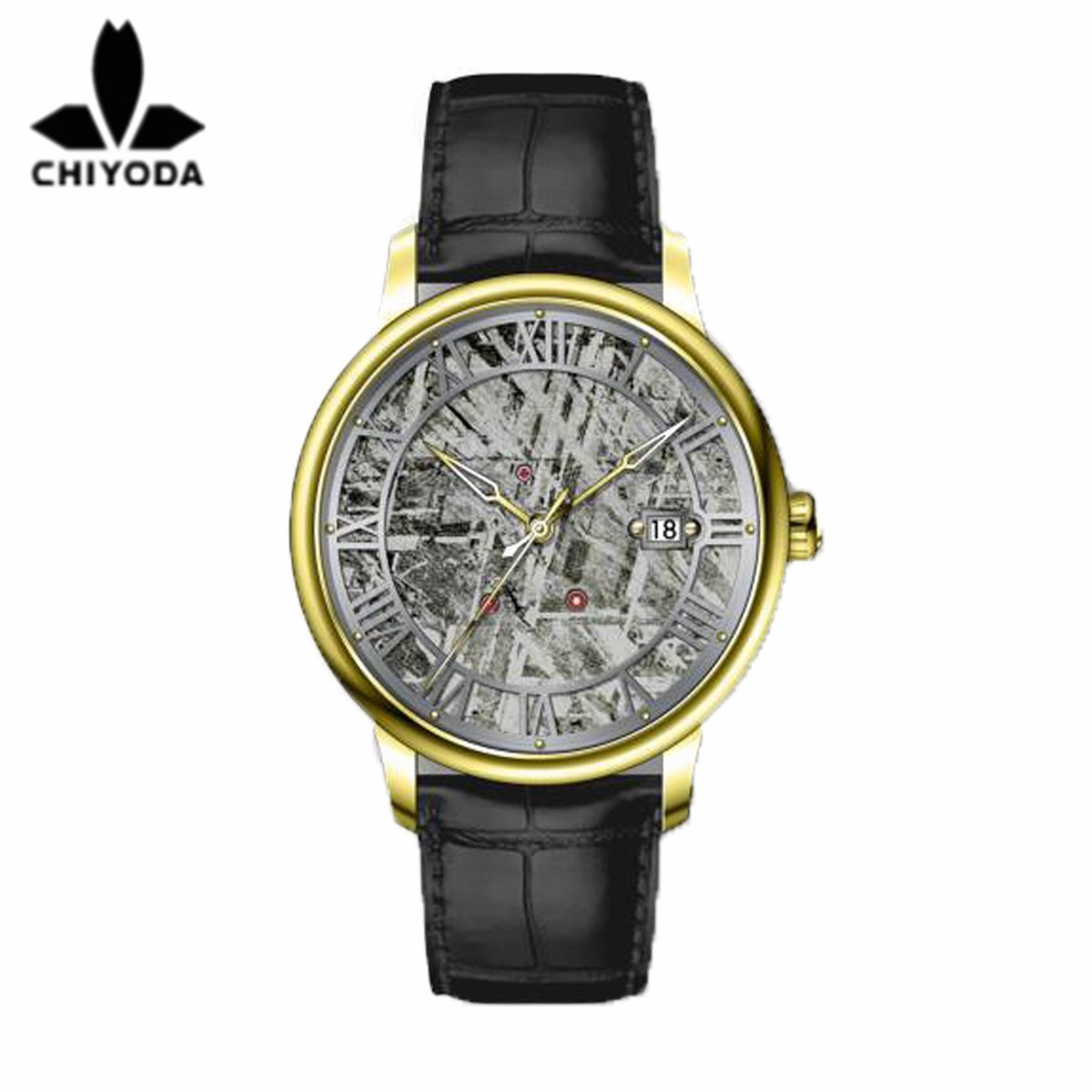 CHIYODA Mens Luxury Gold Automatic Watch with Classical Meteorite Dial Swiss Movement Leather Strap Meteorite 01