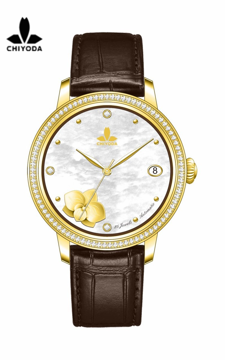 CHIYODA Unisex Luxury Gold Automatic Watch with MotherofPearl Shell Dial Swiss Movement Leather Strap Shell 12