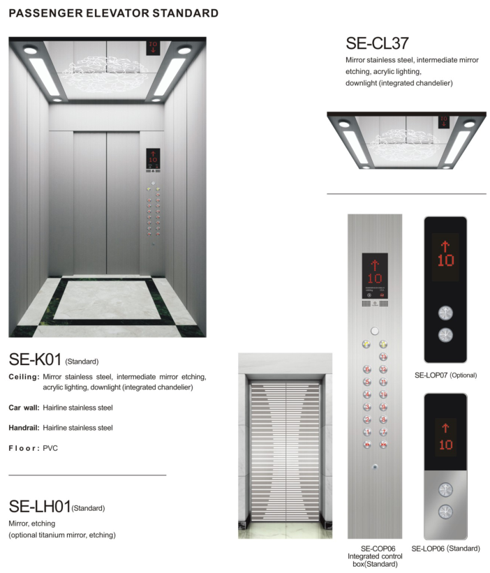 Small Home Lift Stainless Steel Residential Elevator with AC Drive