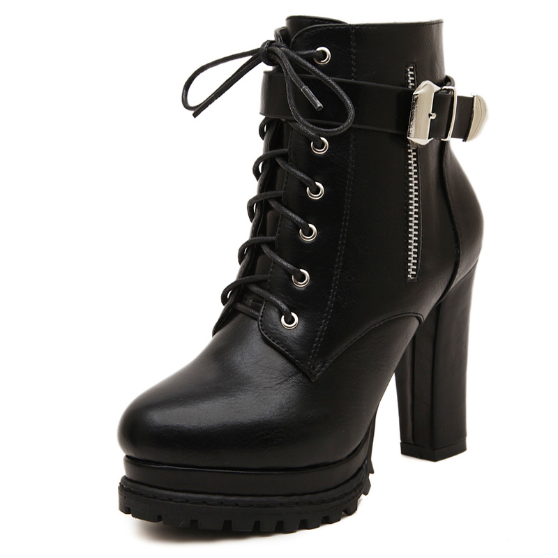 Womens Ankle Boots Glam Black Platform Lacing Buckle Zipper Shoes