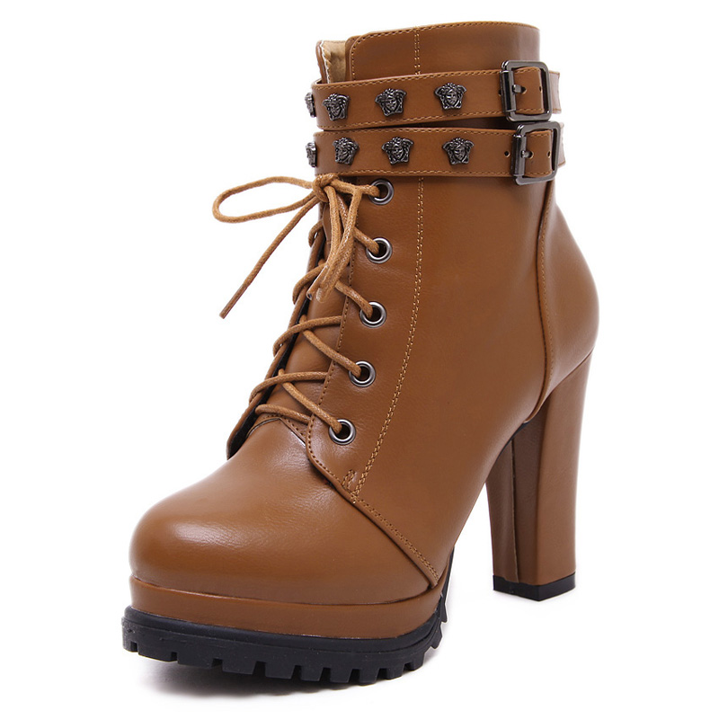 Womens Shoes Lace Up Platform Buckled Rough Heel Ankle Boots