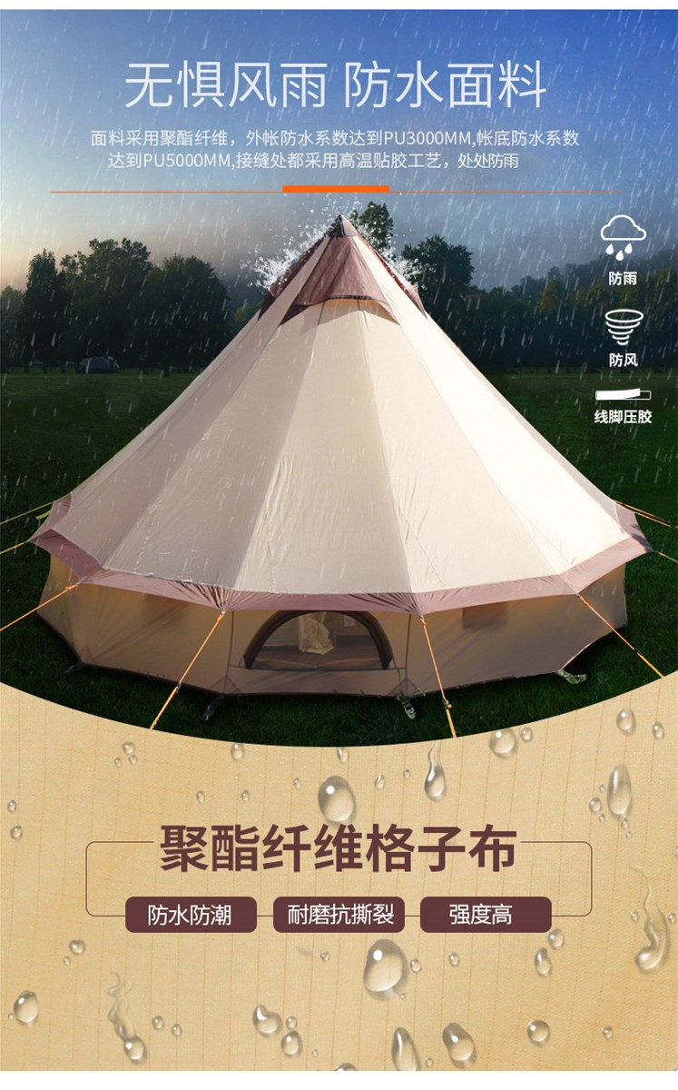 CNHIMALAYA HT9152 Outdoor Mongolia Yurt Tent Family Camping Tent Large Space Waterproof Tents for 310 People Selfdrive