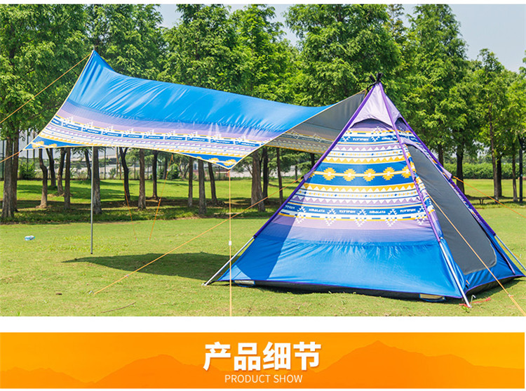 CNHIMALAYA HT9195B Outdoor 34 people Tent Family Selfdriving Camping Waterproof Sunproof Tent Blue