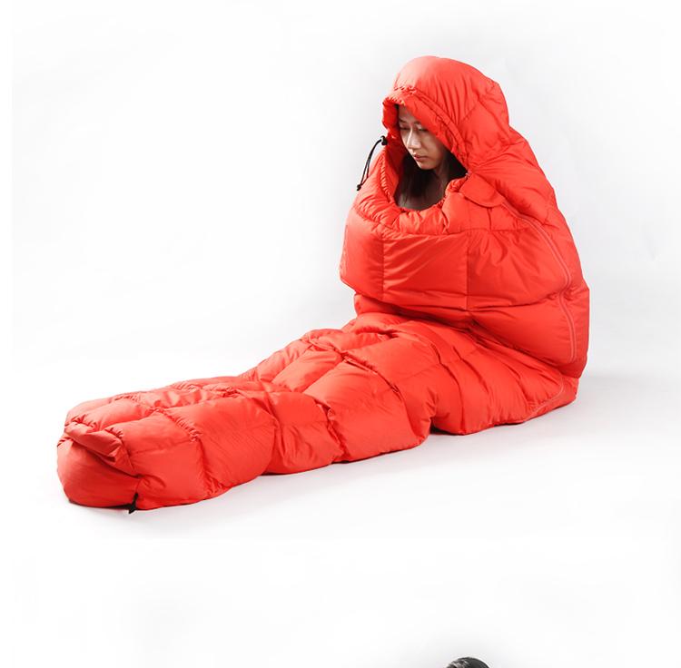 CNHIMALAYA HS9621B Downfilled Sleeping Bag Winter Outdoor Portable Envelopes Warm Camping Sleeping Bags Sky Blue