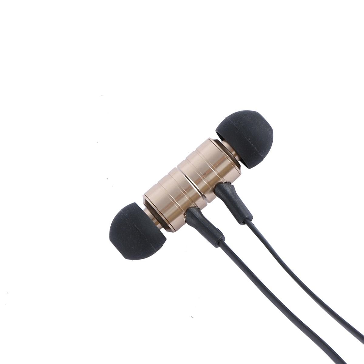 in Ear Head Phone Magnet Dsign Gloden Laser Covering Wire Earphone