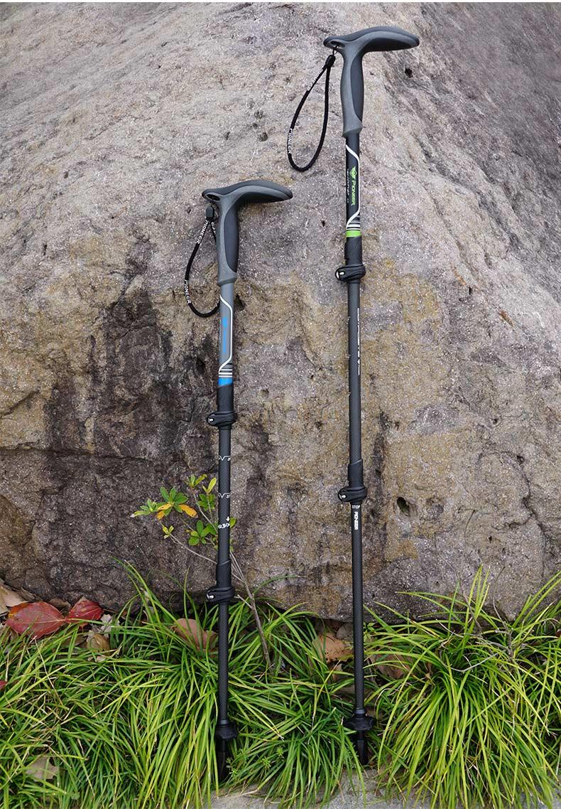 PIONEER Carbon Fiber Adjustable Walking Stick 3 Section EVA THandle Retractable Hiking Pole Old Man Walking StickBlack