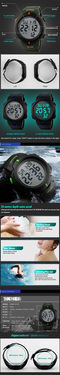 Top High Quality Mens Luxury Brand Watches Skmei Hot Sale 5ATM Waterproof Outer Door Sports Watches Skmei 1068 Diving W