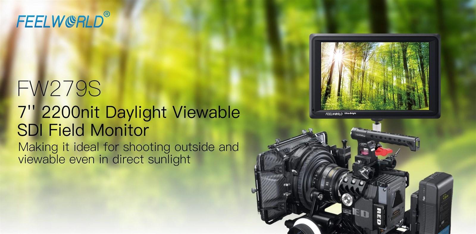FEELWORLD FW279S 7 Inch 2200nit Daylight Viewable Camera Field Monitor 3GSDI 4K HDMI Input Output 1920X1200 IPS Panel