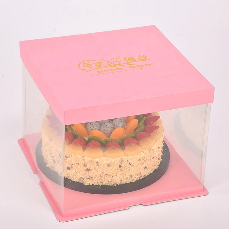 Food Grade Transparent Handlecustomcake packaging boxes with PET windowPET Cake packing BoxesPlastic box