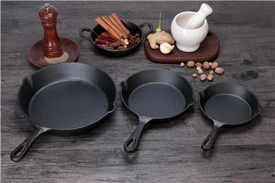 6 8 10 Set of 3 Nonstick Preseasoned Cast Iron Round Egg Frying Skillet Pan