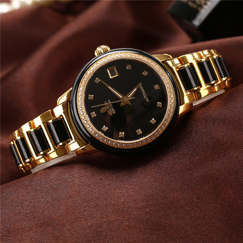 CHIYODA Womens Automatic Watch Jade Watch Luxury Sapphire Mirror Dark Jade