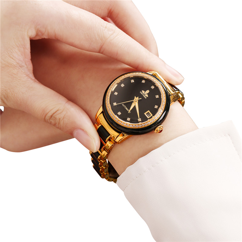 CHIYODA Mens Automatic Watch Jade Watch Luxury Sapphire Mirror Dark Jade