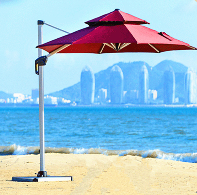 Polyester Aluminum Frame Banana Side Big Garden Cantilever uv Patio Umbrella with 27m Diameter for Outdoor