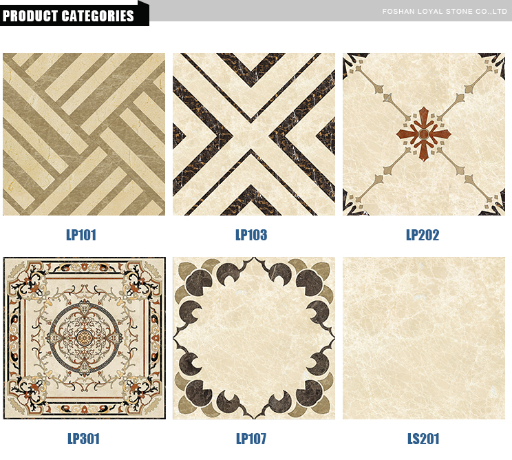 Decoration flower waterjet tiles design marble floor pattern for project