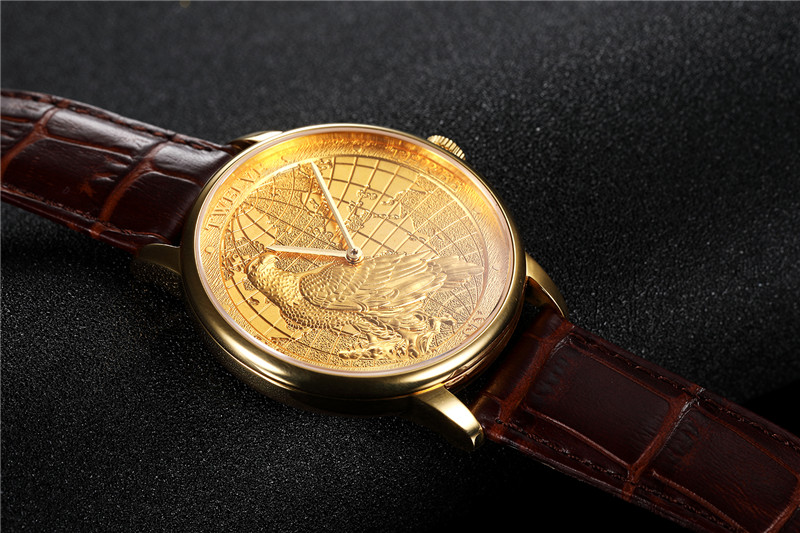 CHIYODA Luxury Golden Plated Wrist Watch with Carving Process of Map Eagle Pattern Quartz Movement