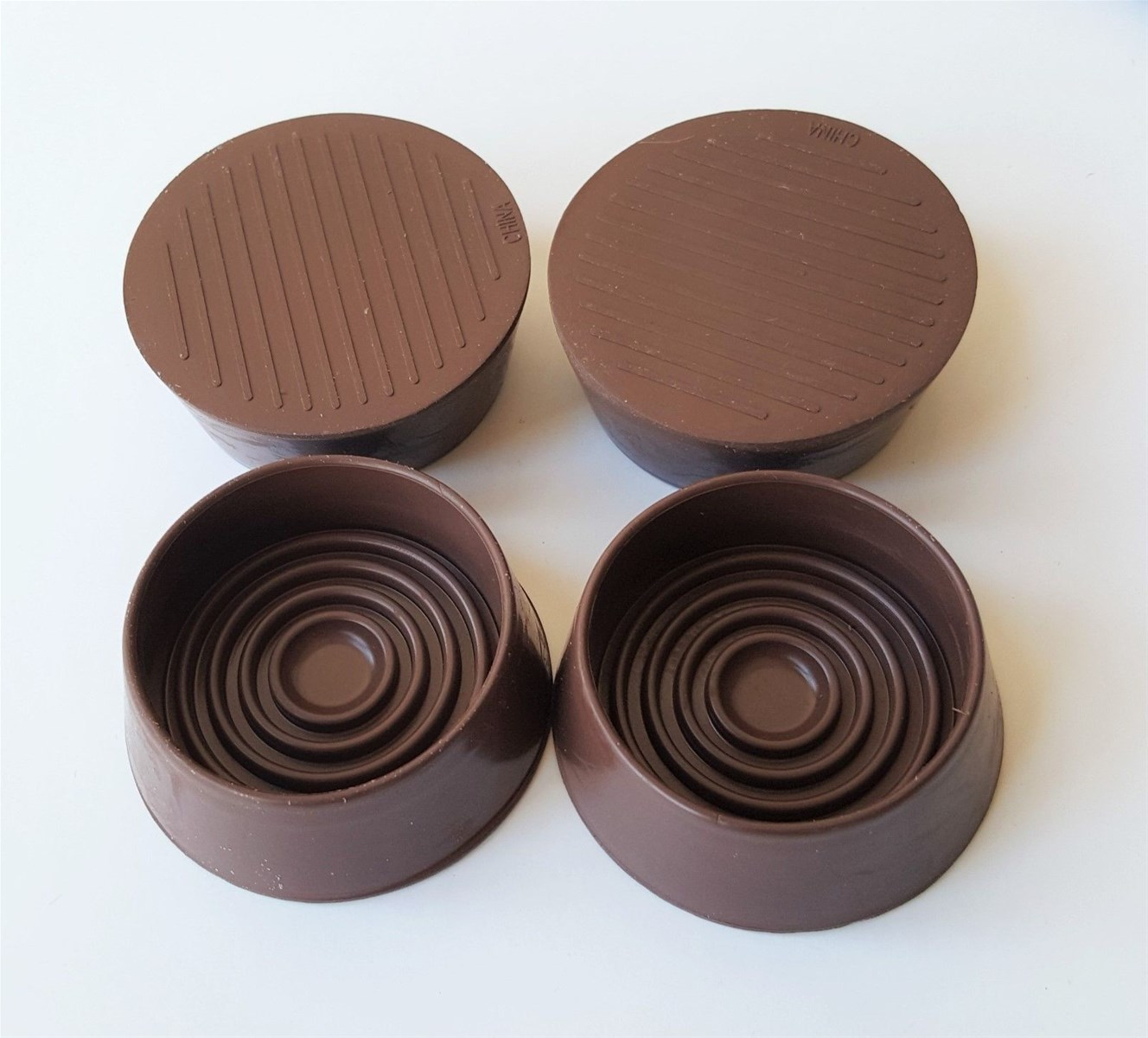 134inchROUND CASTOR CUPS Rubber Base Protects Floors BROWN 38 Or 44mm