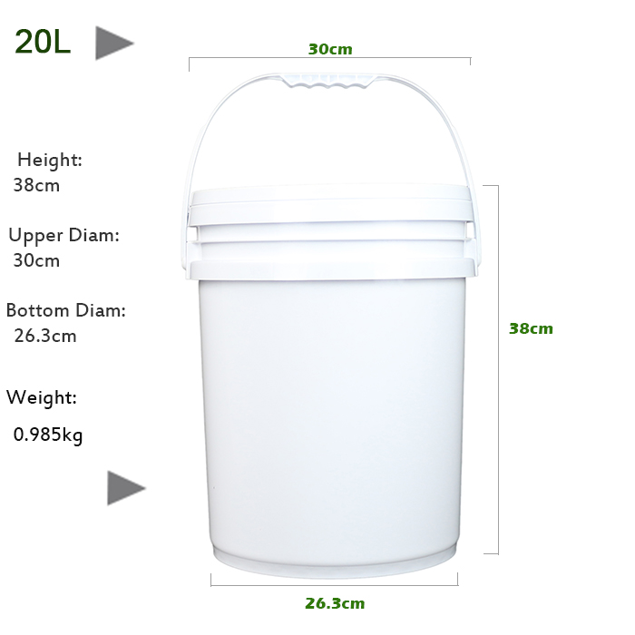 Multipurpose Chemical 5 Gallon White Plastic Bucket with Handle and Lid