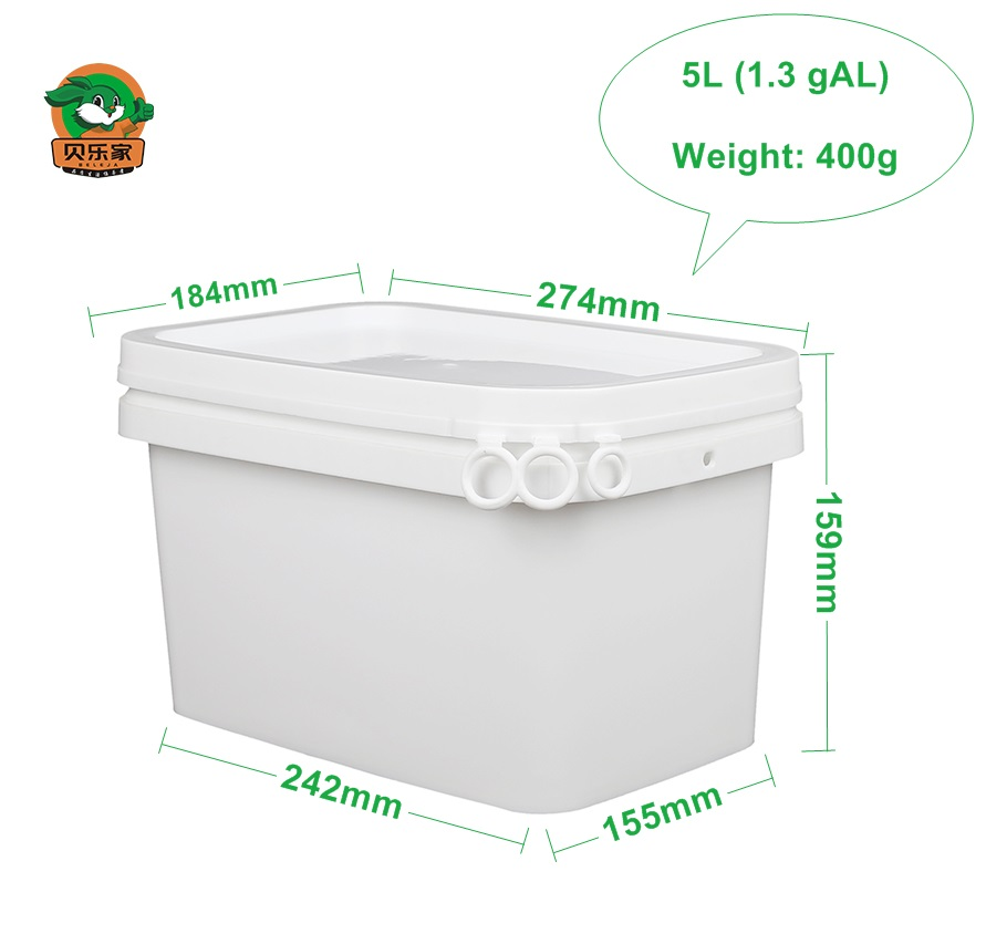 Wholesale 5L Food Grade Square Plastic Bucket with Lid and Handle