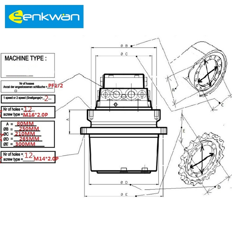 GM09 Excavator Final Drive Travel Motor