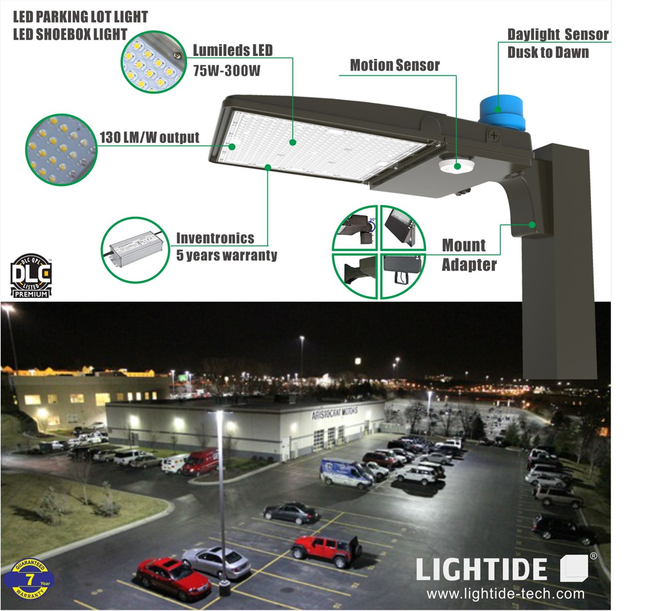 DLC Qualified Dusk to Dawn LED Parking Lot Light Fixtures 150W Lumileds with 5 yrs warranty