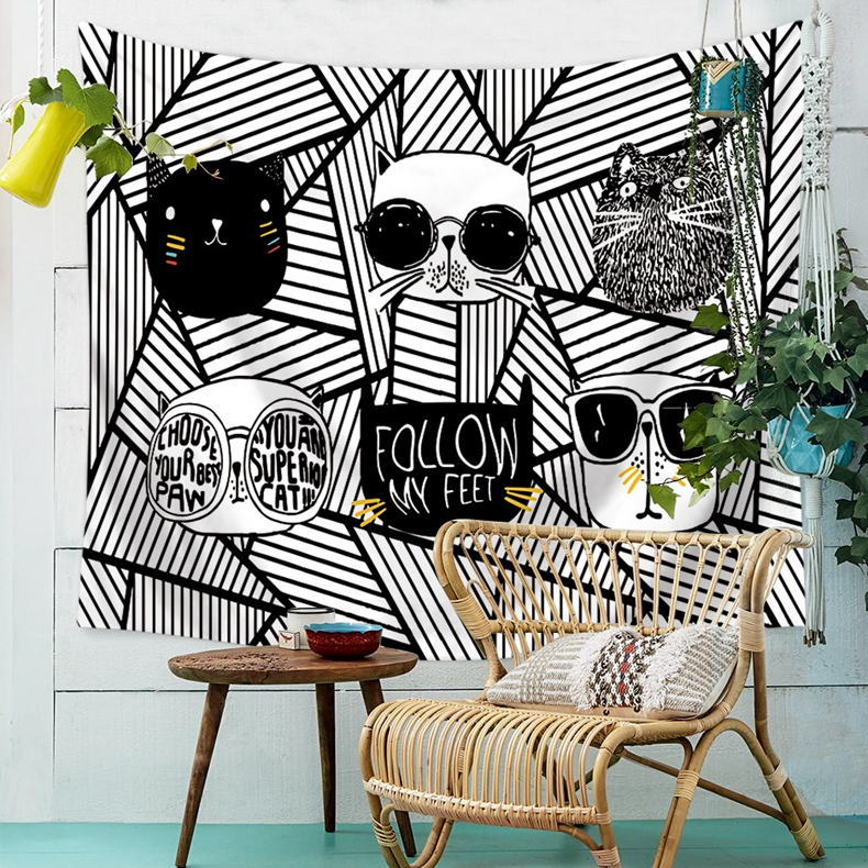 Painting Cute Cartoon Animal Cats Wall Hanging Gobelin Living Room Decor Home Decoration Cheap High Qualit Tapestry