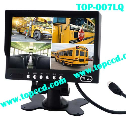 7inch Heavy Duty Vehicle Digital LCD TFT monitor Builtin Quad from Topccd TOP007LQ