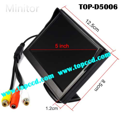 5 inch Dash Mount car Rear View LCD Monitor with 2CH video inputs from Topccd TOPD5006