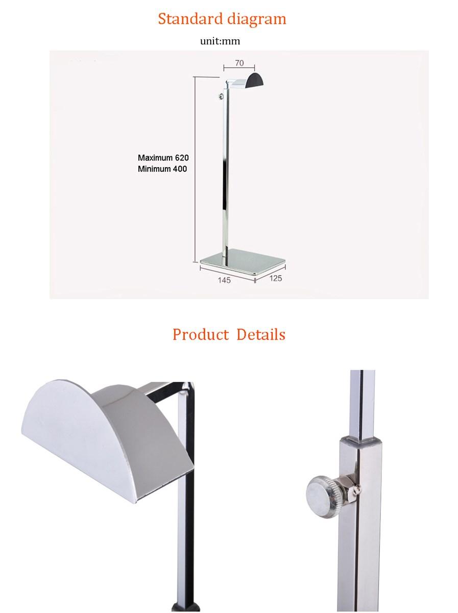 Lilladisplay Adjustable stainless steel handbag display stand for counter display BDR02