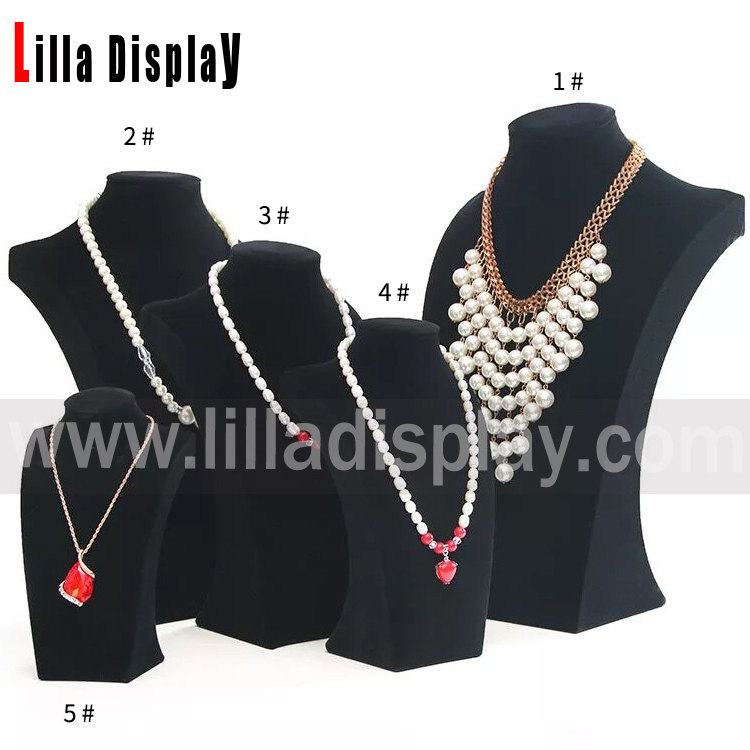 Lilladisplay 5 sizes available black velvet necklace display neck stand NS01