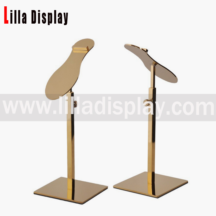 Lilladisplay Retail Gold Chrome Metal Shoe Rack Display shoes stand with shoes shape design style SDR05S