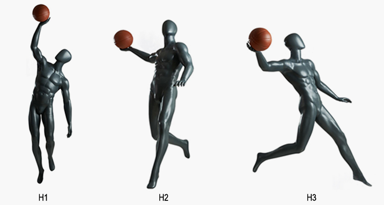 Lilladisplaygrey color sport playing basketball mannequins H1 collections