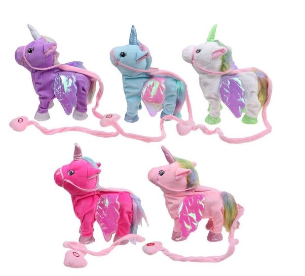 Wholesale Soft Big Singing And Walking Unicorn Stuffed Plush Electric Toy With Rope