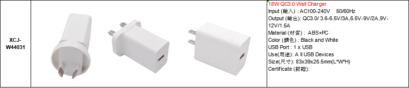 Wholesale 1port QC30 18WUSB Wall Charger