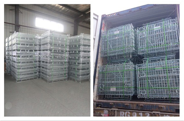 OEMODM industrial material handling stackable folded strong steel metal iron storage rigid wire cages for warehouse
