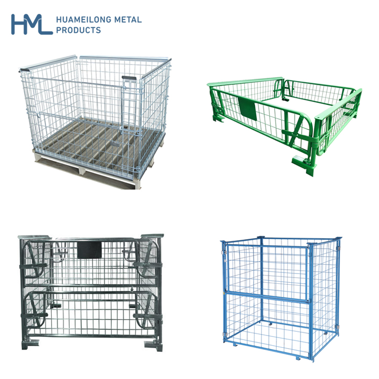 Euro warehouse bulk collapsible rigid steel metal folding stackable wire mesh storage pallet cages with wooden pallet