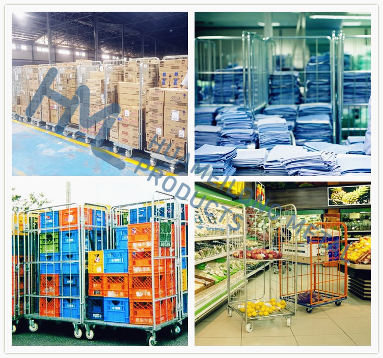 2 sided transport insulated demountable galvanized foldable mild steel wire mesh storage pallet roll container